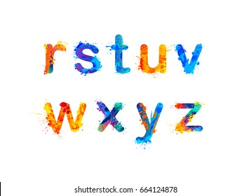 Alphabet of watercolor splash paint. Letters r, s, t, u, v, w, x, y and z.