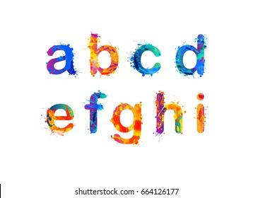 Alphabet of watercolor splash paint. Letters a, b, c, d, e, f, g, h, i. Part 1 of 3