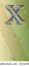 Alphabet X vector background among narrow movement, assorted info in visualization