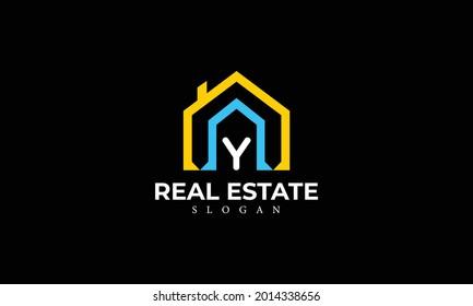 Alphabet Y Real Estate Monogram Vector Logo Design, Letter Y House Icon Template