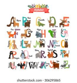 Alphabet with zoo animals