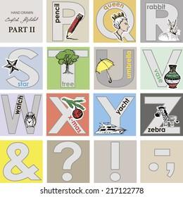 Alphabet.Cute design.Vector illustration.Part 2.