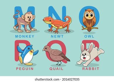 alphabeth animal cute education m-r vector
