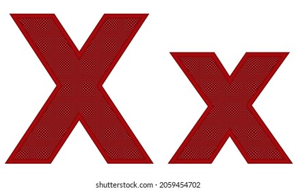 Alphabetic Uppercase And Lowercase Letters Of X With Square Pattern Vector Illustration. Red Letter X Uppercase And Lowercase Isolated On White Background
