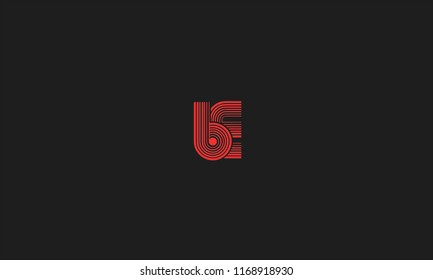 Alphabetical B E , B , E font typography in red color