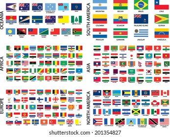 Alphabetical Country Flags by Continent