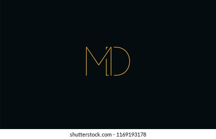 Alphabetical M D , M , D font typography in orange color