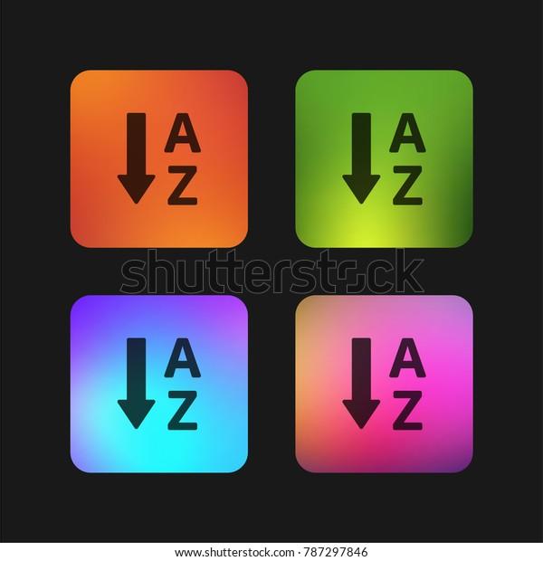 Alphabetical Order Four Color Gradient App Stock Vector