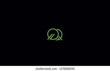 Alphabetical Q Q , Q , Q font typography in green color