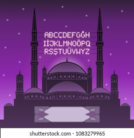 Alphabetical ramadan mahya lights over a mosque silhouette in front of lilac sky. All the objects and letters are in different layers and you can write anything you want with the mahya candles.