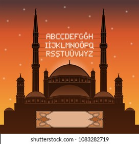Alphabetical ramadan mahya lights over a mosque silhouette in front of sunset. All the objects and letters are in different layers and you can write anything you want with the mahya candles.