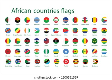 Alphabetically sorted circle flags of Africa. Set of round flags. Vector Illustration.