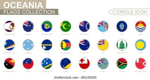 Alphabetically sorted circle flags of Oceania. Set of round flags. Vector Illustration.