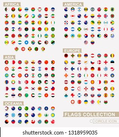 Alphabetically sorted circle flags of the world. Set of round flags. Vector Illustration.