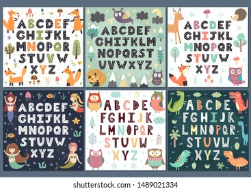 Alphabets collection with cute characters. Wall Art for kids. Vector illustration