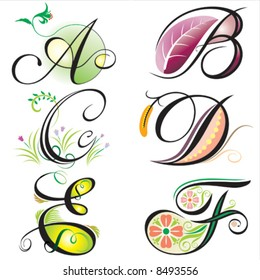 alphabets elements design -  series A to F