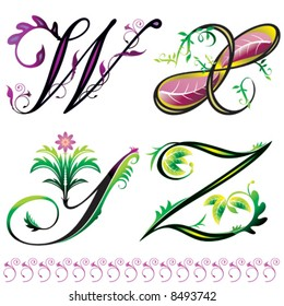 alphabets elements design -  series W to Z