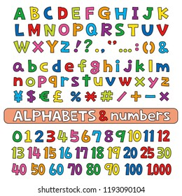 Alphabets and numbers, fonts vector set