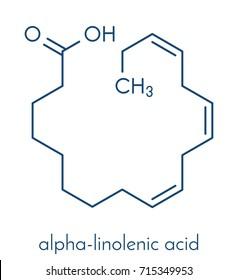 Alpha-linolenic acid (ALA) molecule. Essential polyunsaturated omega-3 fatty acid, present in many vegetable oils. Skeletal formula.