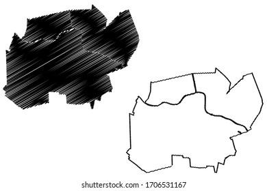Alphen aan den Rijn City (Kingdom of the Netherlands, South Holland) map vector illustration, scribble sketch City of Alphen aan den Rijn map