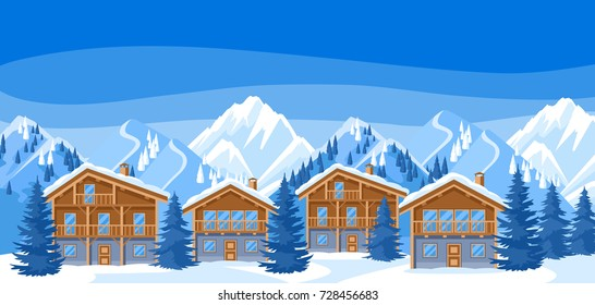 Alpine chalet houses. Winter resort illustration. Beautiful landscape with snowy mountains and fir forest.