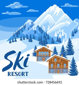 Alpine chalet houses. Winter ski resort illustration. Beautiful landscape with snowy mountains and fir forest.