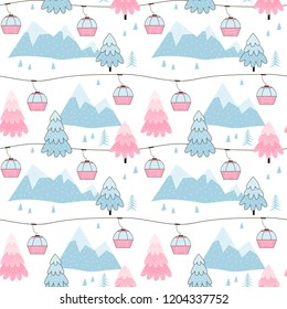 Alpine Landscape with FIR-TREEs, Mountains & Ski Gondolas. Vector Seamless pattern drawn in linear doodle style in winter pastel blue, pink and white palette.
