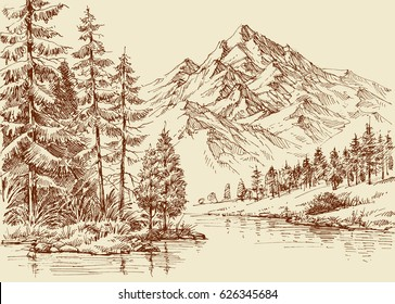 Alpine landscape, river and pine forest sketch