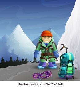 Alpine mountain climber cartoon character with ice axe against icy rocks peaks background poster abstract vector illustration