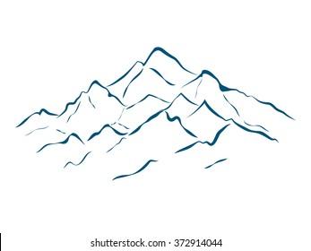 alpine mountain landscape vector illustration