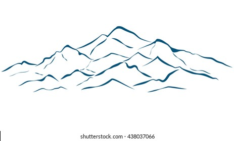 alpine mountain outline alaska landscape vector illustration