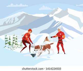 Alpine rescue service flat vector illustration. Brave mountain rescuers with dog cartoon characters. St bernard dig through snow, search group