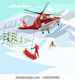 Alpine rescue service flat vector illustration. Brave mountain rescuers cartoon characters. Avalanche victim aircraft transportation, life danger.