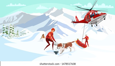 Alpine rescue service flat vector illustration. Brave mountain rescuers with dog cartoon characters. Avalanche victim aircraft transportation, life danger. St bernard dig through snow, search group