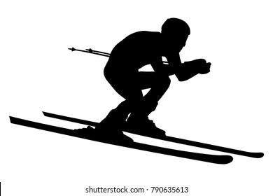 alpine skier athlete skiing downhill black silhouette