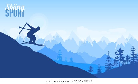 Alpine skiing competition illustration. Sport lifestyle for design concept. Skier slides from the mountain on background of mountainsþ. Nature morning landscape background.