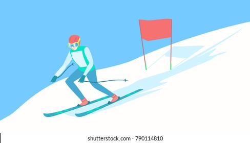 Alpine Skiing or downhill skiing - Men's Slalom. Alpine skier on the ski track. Descent from the mountain. Vector illustration EPS-8.