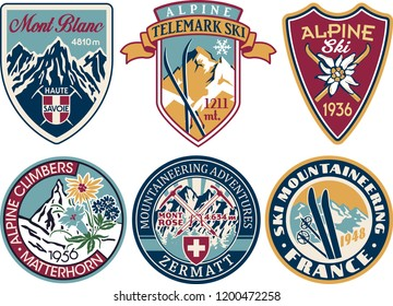 Alpine skiing and mountaineering patches collection vintage vector artworks of alps applique badges