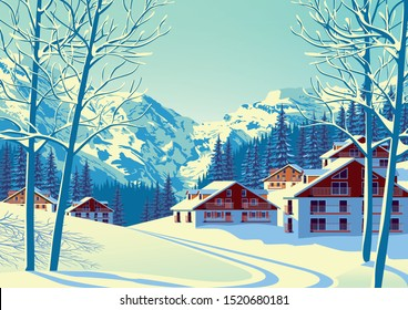 Alpine village with forest and mountains in the background. Handmade drawing vector illustration. Flat design poster.