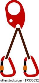 Symbol für das Alpinistische Selbstrettungssystem. Flaches Farbdesign. Vektorgrafik.