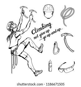 alpinist slogan with girl, woman mountaineer, alpine climbing, alpinism, mountaineering, alpinist girl character, climb concept, hand drawn lettering, mountaineering logo, vector graphics to design