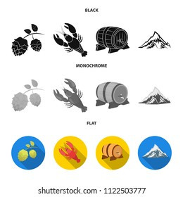 Alps, a barrel of beer, lobster, hops. Oktoberfest set collection icons in black, flat, monochrome style vector symbol stock illustration web.