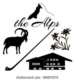 The Alps flat icons. Mountain Matterhorn, Alpine ibex, chalet, edelweiss flowers, alpenhorn.