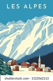 Alps travel retro poster, vintage banner. Mountain village of Austria, winter landscape of Switzerland. Hand drawing flat vector illustration.