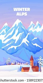 Alps winter poster. Vintage cartoon banner with high snowy peaks of Alps in Austria or Switzerland. Vector view ski resort and hotel homes poster in mountains snow scenery for travel
