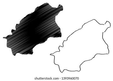 Al-Qassim Region (Regions of Saudi Arabia, Kingdom of Saudi Arabia, KSA) map vector illustration, scribble sketch Qassim map
