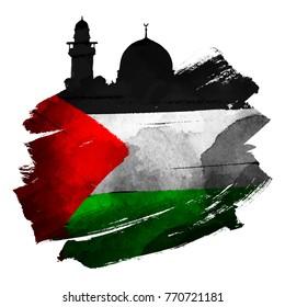 Al-Quds mosque silhouette with palestine flag on ink brush shape vector illustration