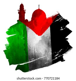 Al-Quds mosque silhouette with palestine flag on ink brush shape