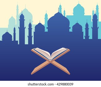 al-quran quran koran islam religion book with mosque sillhouette as background vector graphic illustration