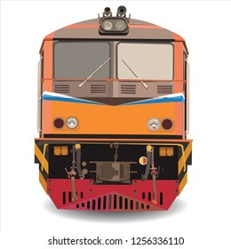 alstom Diesel Electric locomotive  vector,Train in thailand vector on white background